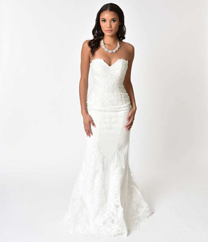 Ivory Embellished Strapless Mermaid Bridal Gown