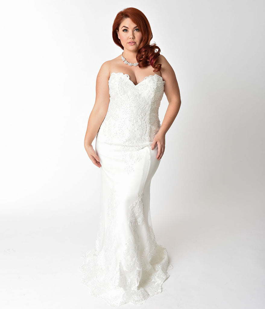 Plus Size Ivory Embellished Strapless Mermaid Bridal Gown