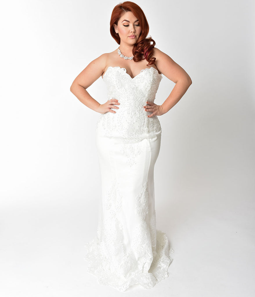Plus Size Ivory Embellished Strapless Mermaid Bridal Gown – Unique ...