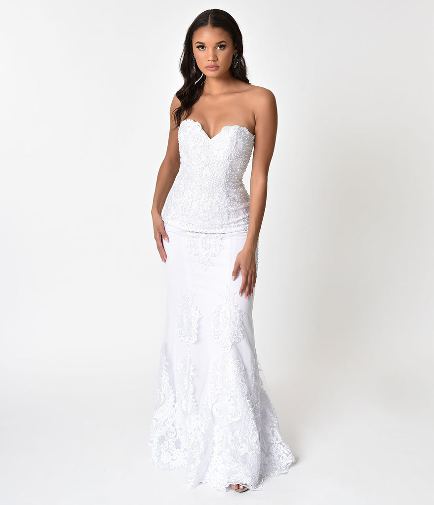 White Embellished Strapless Mermaid Bridal Gown – Unique Vintage