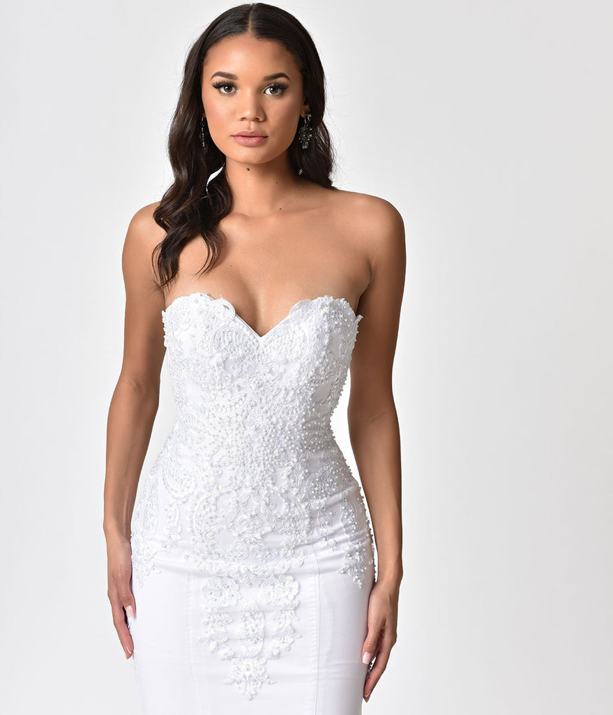 White Embellished Strapless Mermaid Bridal Gown