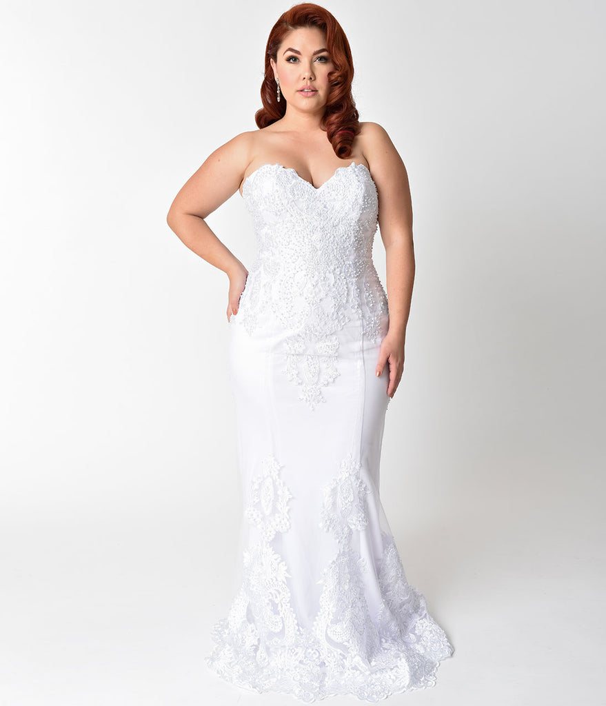 Plus Size White Embellished Strapless Mermaid Bridal Gown