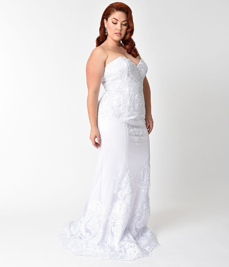 Plus Size White Embellished Strapless Mermaid Bridal Gown – Unique ...