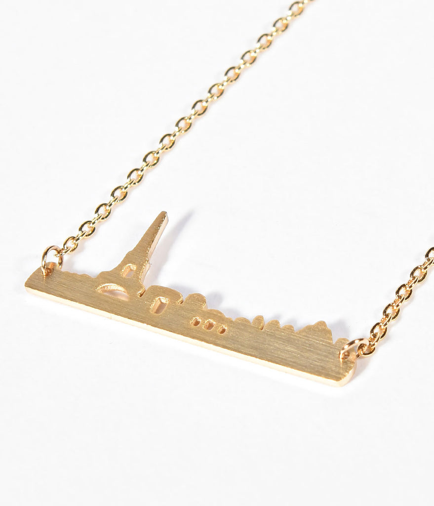 Paris Skyline Gold Link Chain Necklace