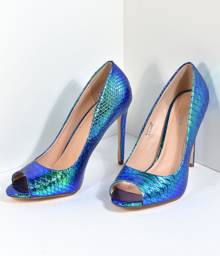 Blue & Green Iridescent Mermaid Scale Peep Toe Pumps