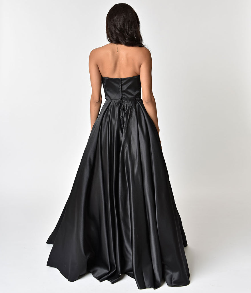 Black Strapless Embellished Ball Gown
