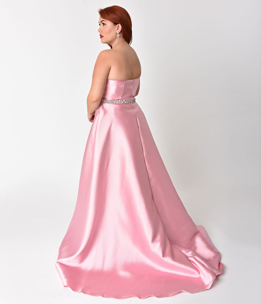 Plus Size Dusty Rose Pink Strapless Sweetheart Neckline Satin Prom Gown