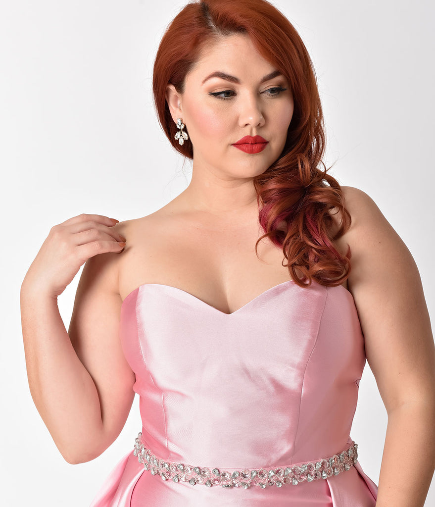 Plus Size Dusty Rose Pink Strapless Sweetheart Neckline Satin Prom ...