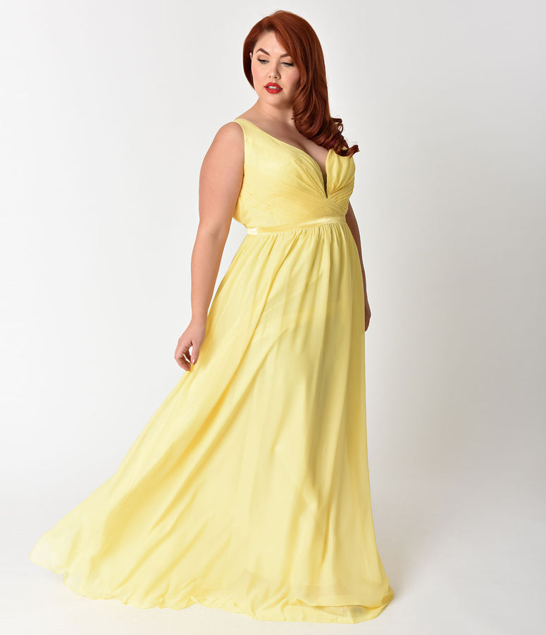 Plus Size Yellow Deep V-Neckline Sleeveless Chiffon Prom Gown