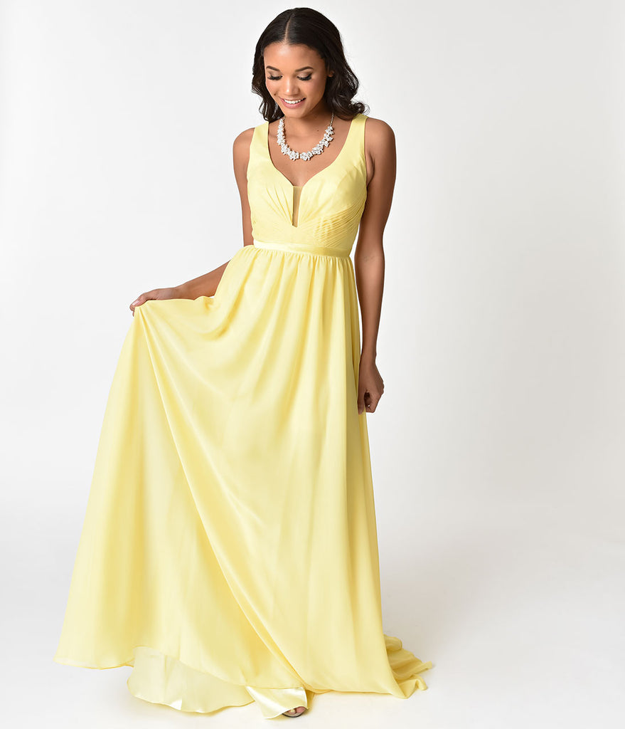 Yellow Deep V-Neckline Sleeveless Chiffon Prom Gown