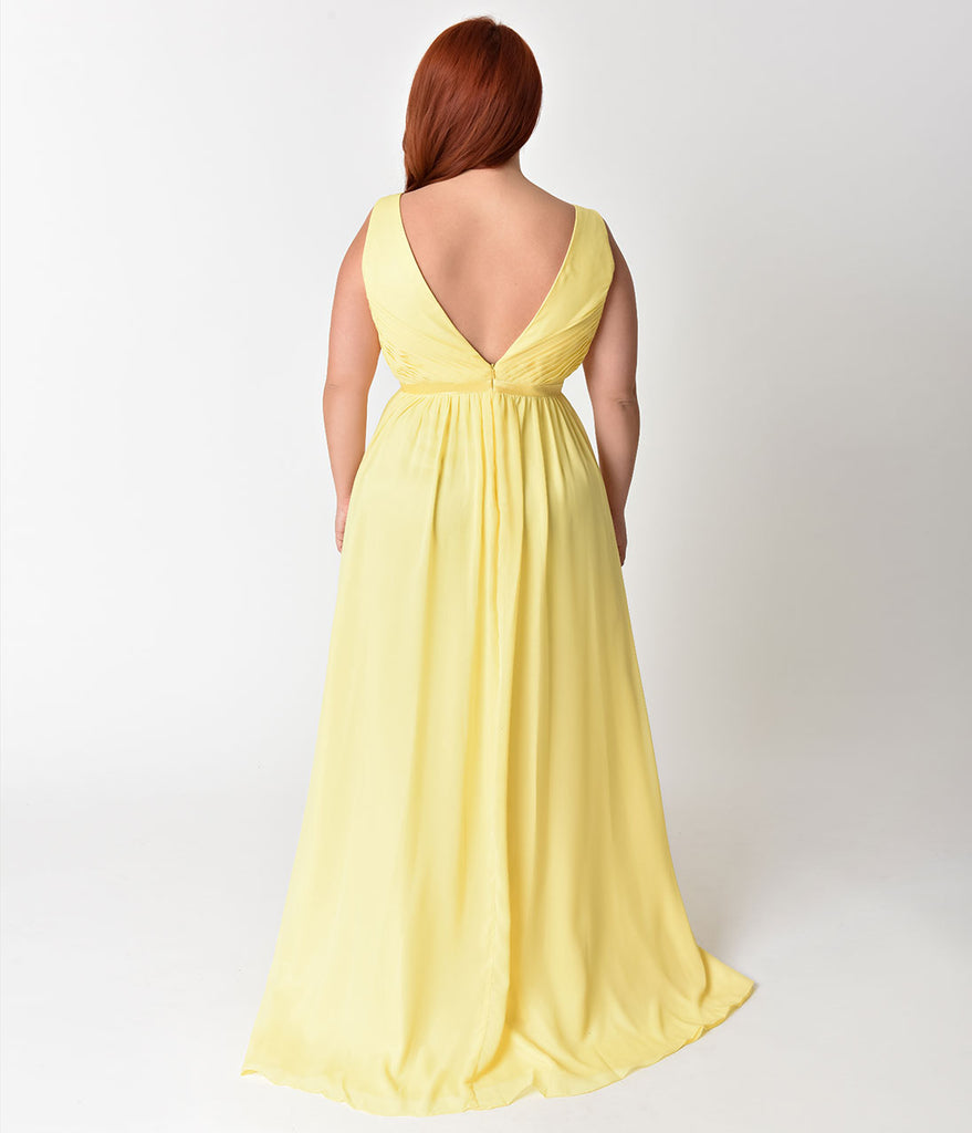 Plus Size Yellow Deep V-Neckline Sleeveless Chiffon Prom Gown ...