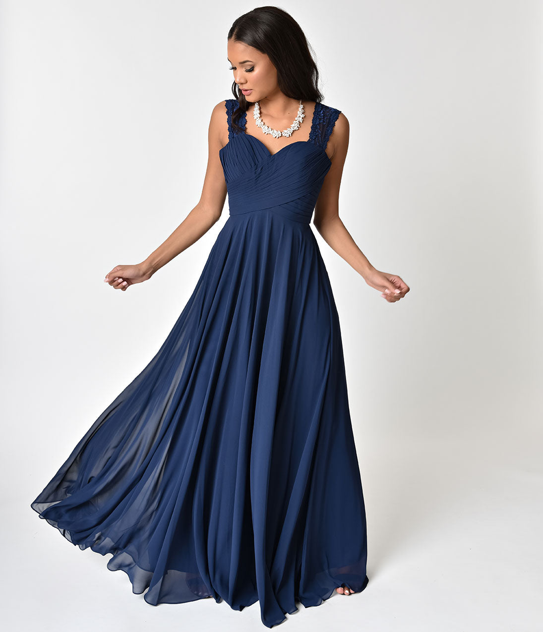 1950s Formal Dresses & Evening Gowns Navy Blue Lace Strap Sweetheart Neckline Chiffon Gown $118.00 AT vintagedancer.com