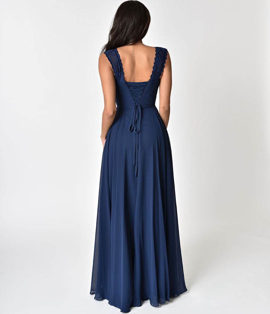 Navy Blue Lace Strap Sweetheart Neckline Chiffon Gown
