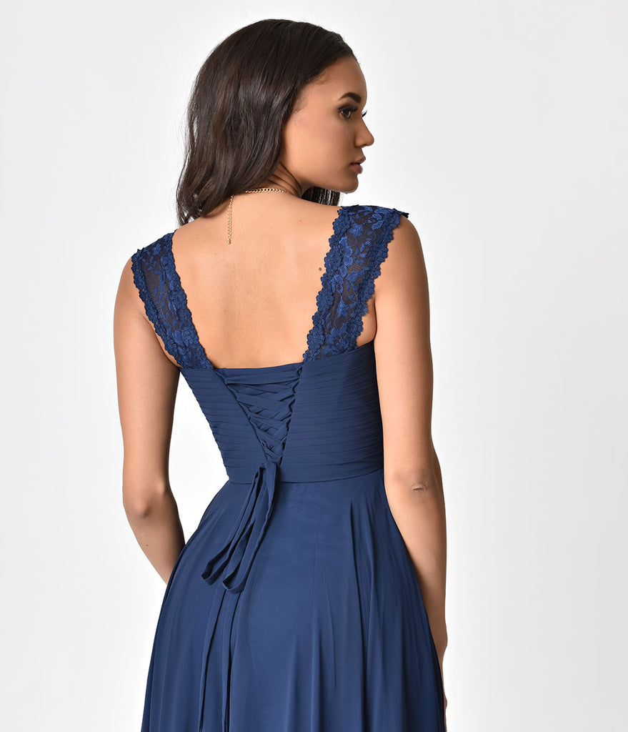 165b0298162 Navy Blue Lace Strap Sweetheart Neckline Chiffon Gown – Unique Vintage