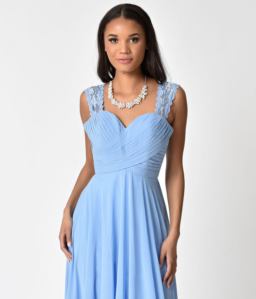Perry Blue Lace Strap Sweetheart Neckline Chiffon Gown