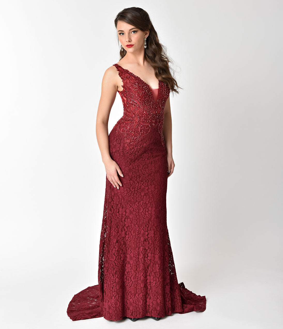 Valentines Day Dresses, Outfits, Lingerie | Red Dresses Burgundy Red Lace Sheer Illusion Beaded Long Dress $310.00 AT vintagedancer.com
