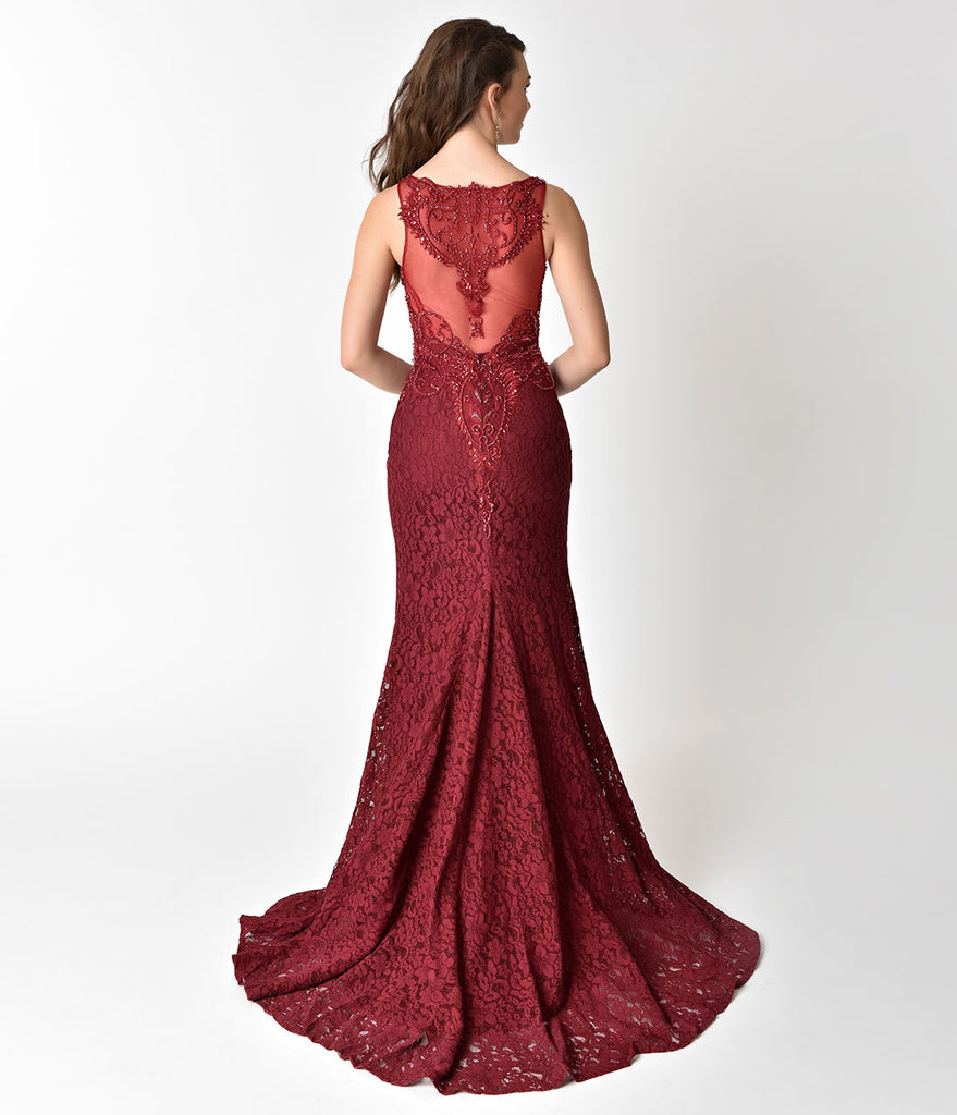 Long lace sheer red dresses