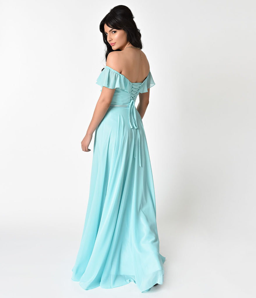Mint Off The Shoulder Ruffled Chiffon Lace Up Gown