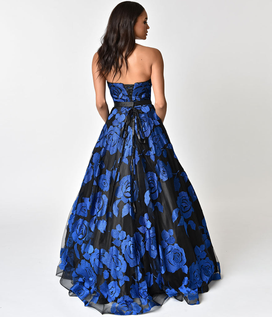Black & Royal Blue Floral Strapless Chiffon Long Gown
