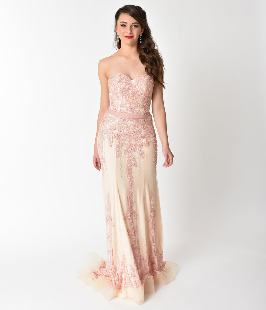 Light Rose & Ivory Strapless Embellished Long Dress