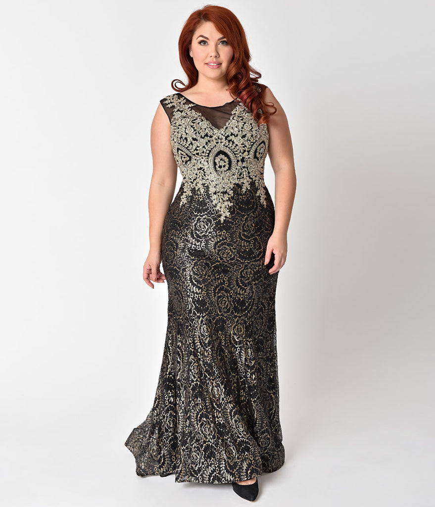 Plus Size Black & Gold Sheer Illusion Lace Dress