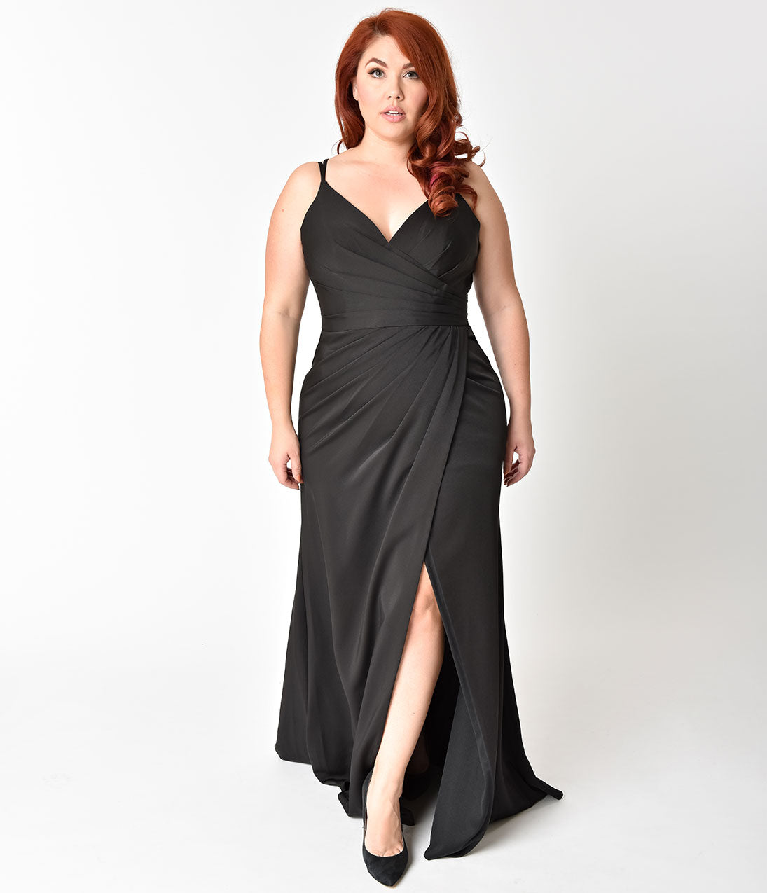 70s Prom, Formal, Evening, Party Dresses Plus Size Black Sexy Pleated Long Dress $118.00 AT vintagedancer.com