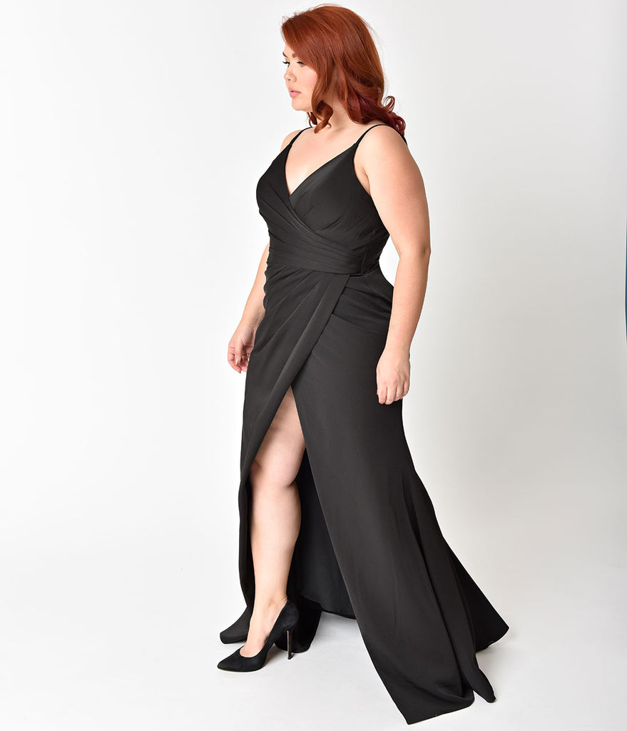 Plus Size Black Sexy Pleated Long Dress