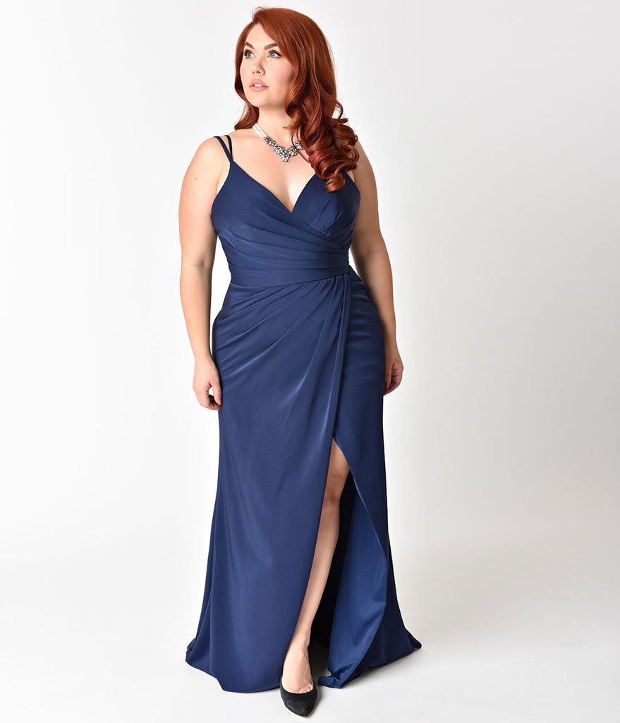 Plus Size Navy Blue Sexy Pleated Long Dress