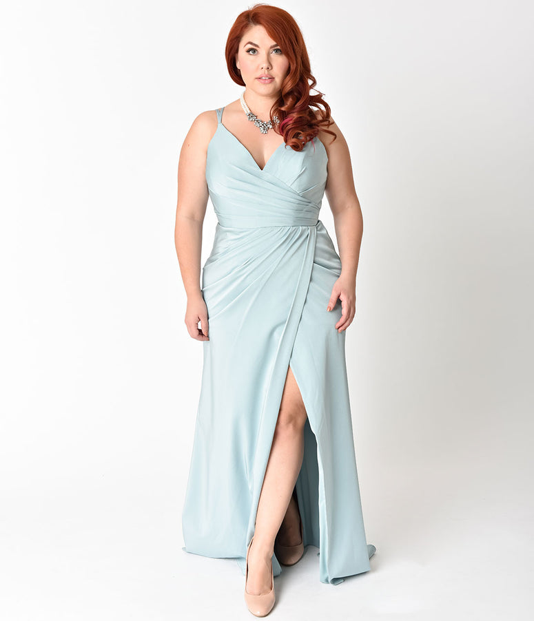 Plus Size Seafoam Blue Sexy Pleated Long Dress