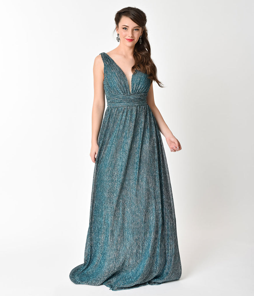 Metallic Teal Green Ribbed Long Dress