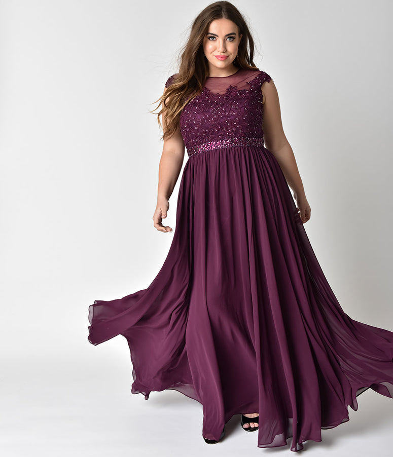 Plus Size Eggplant Purple Embellished Lace & Chiffon Cap Sleeve Prom Gown