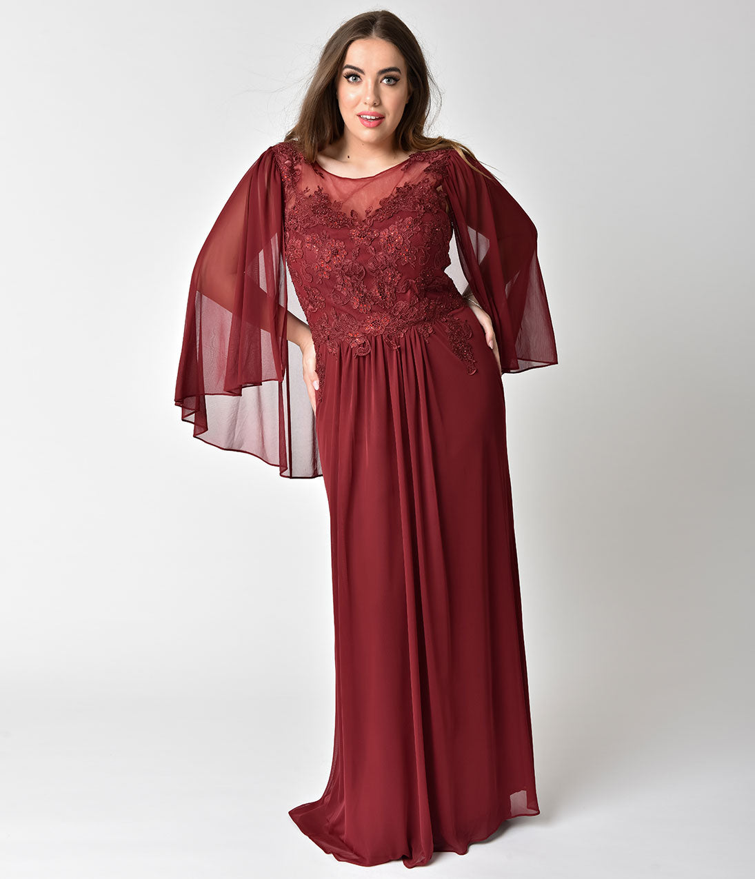 1930s Art Deco Plus Size Dresses | Tea Dresses, Party Dresses Plus Size Burgundy Red Embellished Mesh Sleeved Cape Gown $238.00 AT vintagedancer.com
