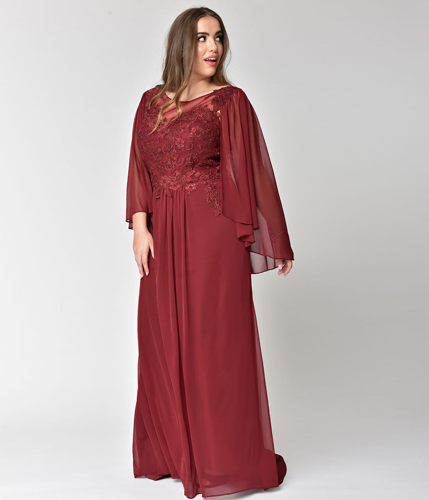 Plus Size Burgundy Red Embellished Mesh Sleeved Cape Gown