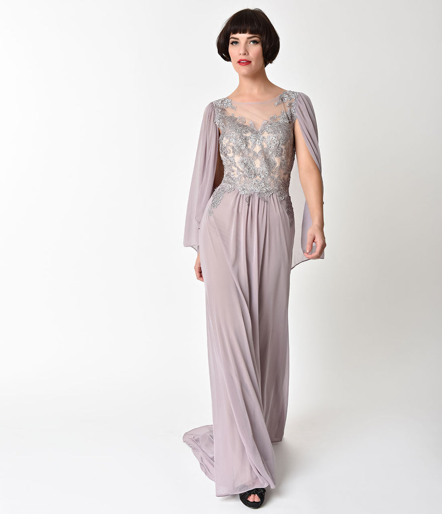 Mauve Mocha Embellished Mesh Sleeved Cape Gown