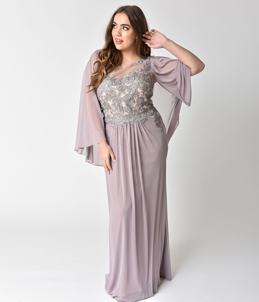 1930s Evening Dresses | Old Hollywood Dress Plus Size Mauve Mocha Embellished Mesh Sleeved Cape Gown $238.00 AT vintagedancer.com