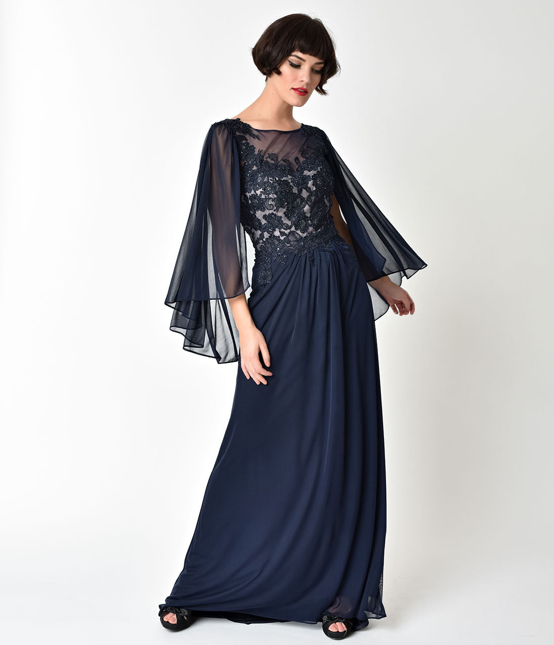 1930s Evening Dresses | Old Hollywood Dress Navy Blue Embellished Mesh Sleeved Cape Gown $238.00 AT vintagedancer.com