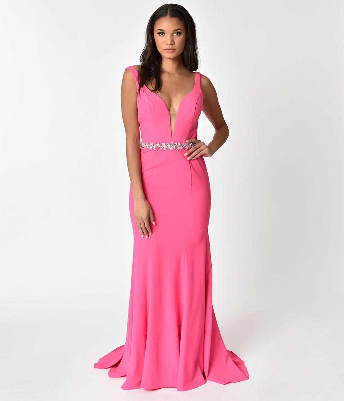 1950s Formal Dresses & Evening Gowns to Buy Hot Pink Sexy Embellished Sleeveless Sweetheart Long Dress $180.00 AT vintagedancer.com