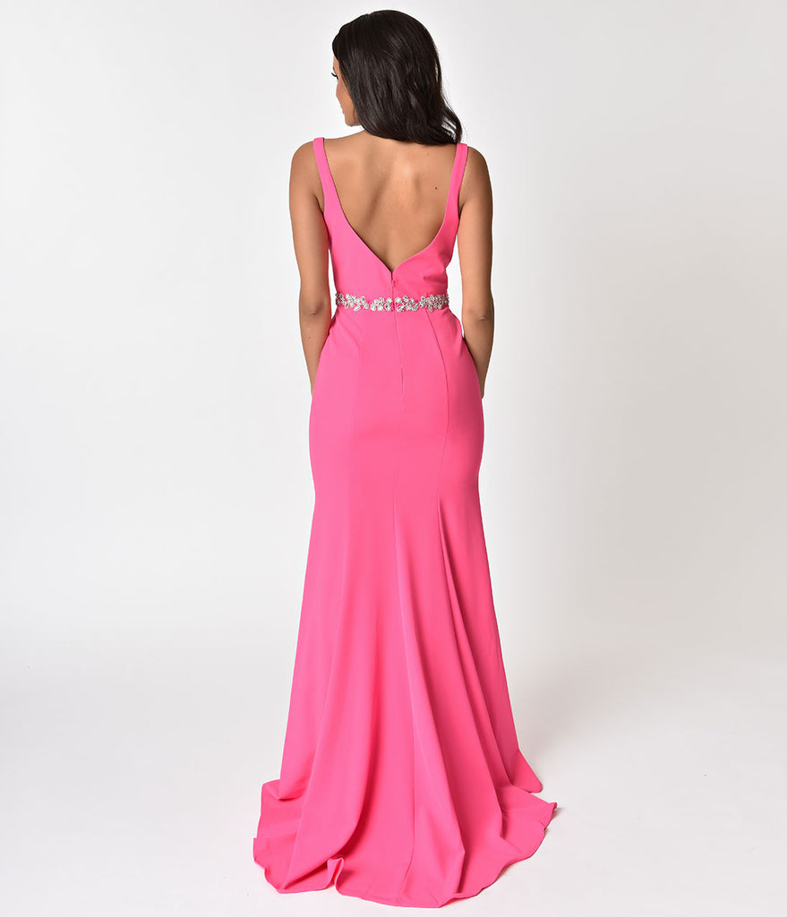 Hot Pink Sexy Embellished Sleeveless Sweetheart Long Dress