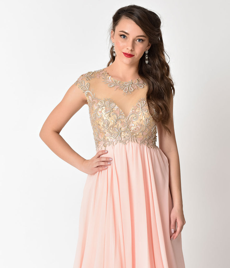 Blush Pink Chiffon & Beaded Illusion Neckline Long Dress