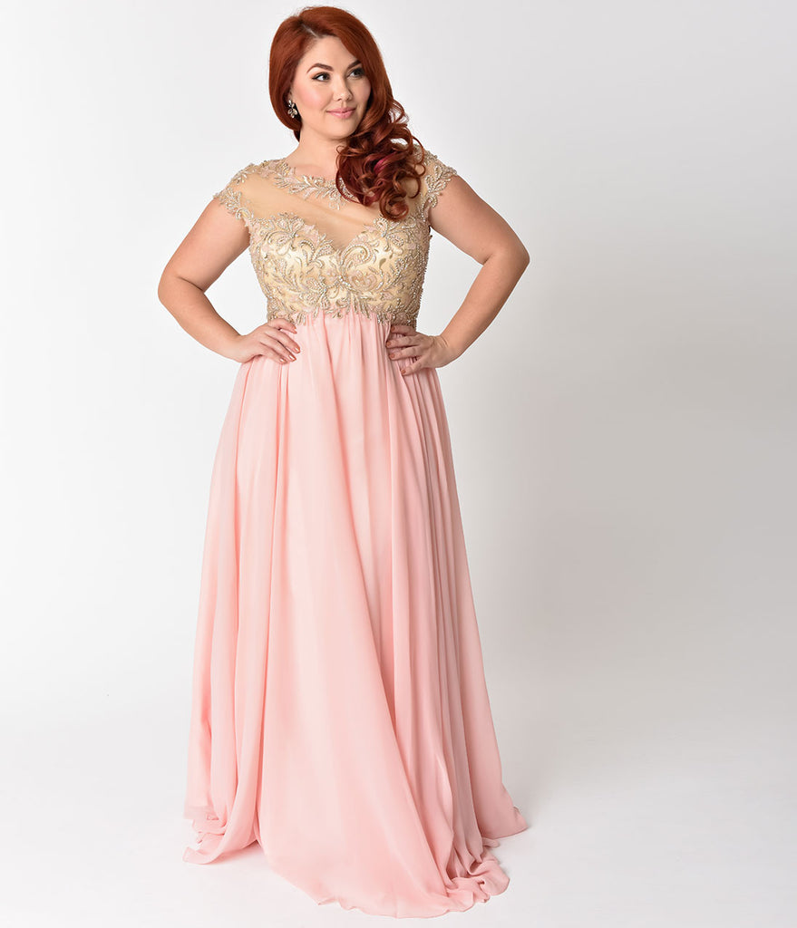 Plus Size Blush Pink Chiffon & Beaded Illusion Neckline Long Dress