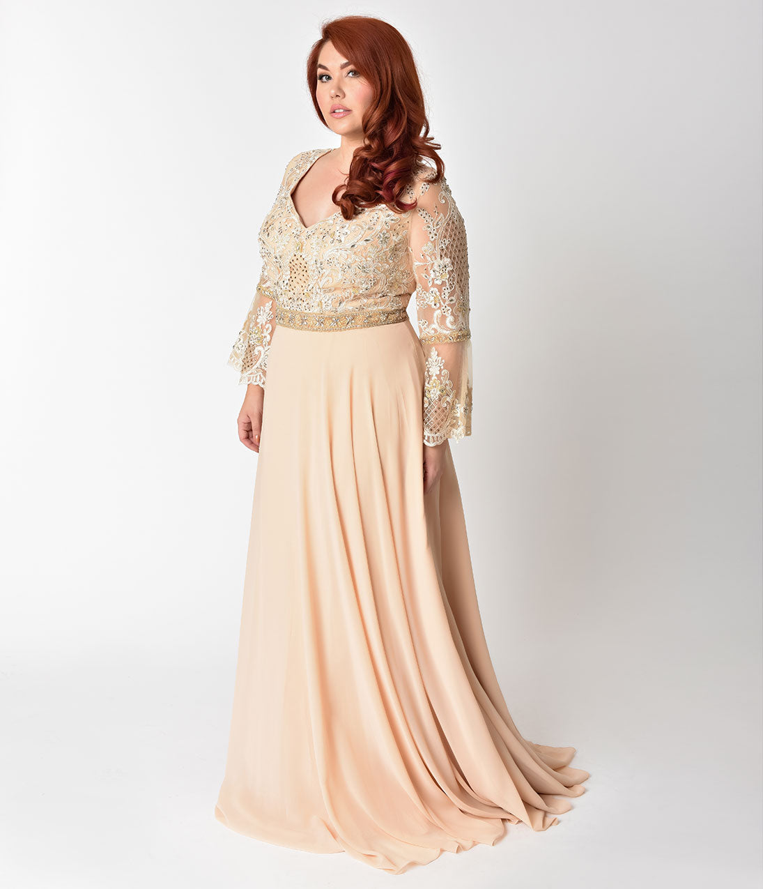 Vintage Evening Dresses and Formal Evening Gowns Plus Size Champagne Beaded Bell Long Sleeve Gown $168.00 AT vintagedancer.com