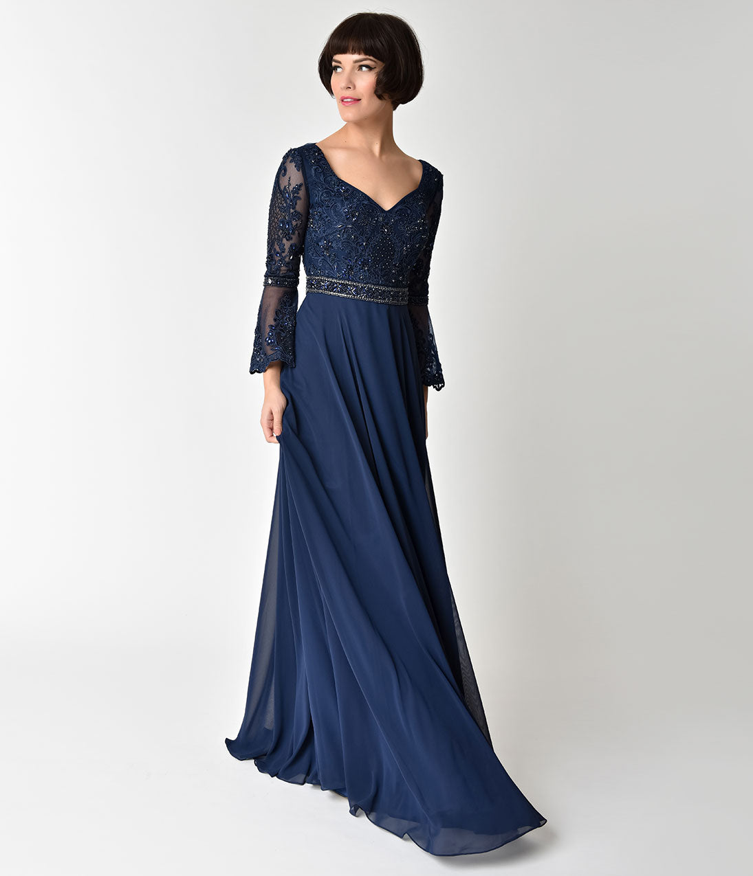 1940s Evening, Prom, Party, Cocktail Dresses & Ball Gowns Navy Blue Embellished Sheer Bell Sleeve Sweetheart Gown $168.00 AT vintagedancer.com