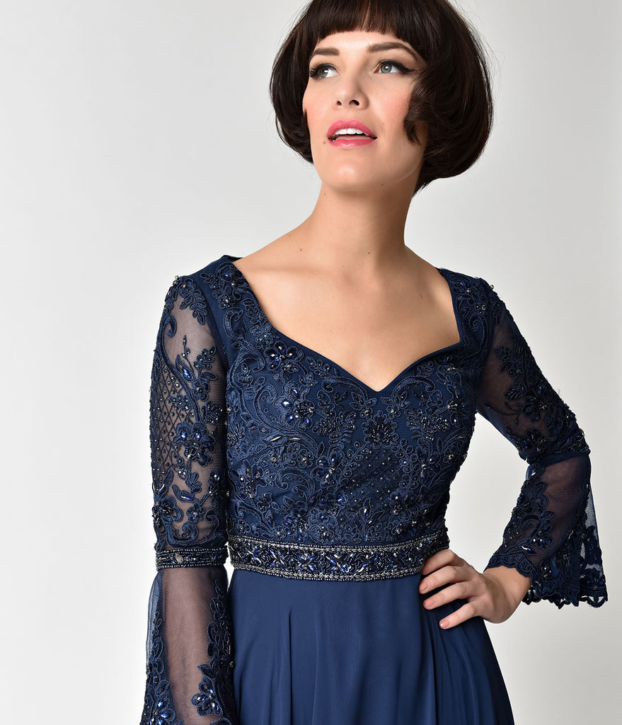 Navy Blue Embellished Sheer Bell Sleeve Sweetheart Gown