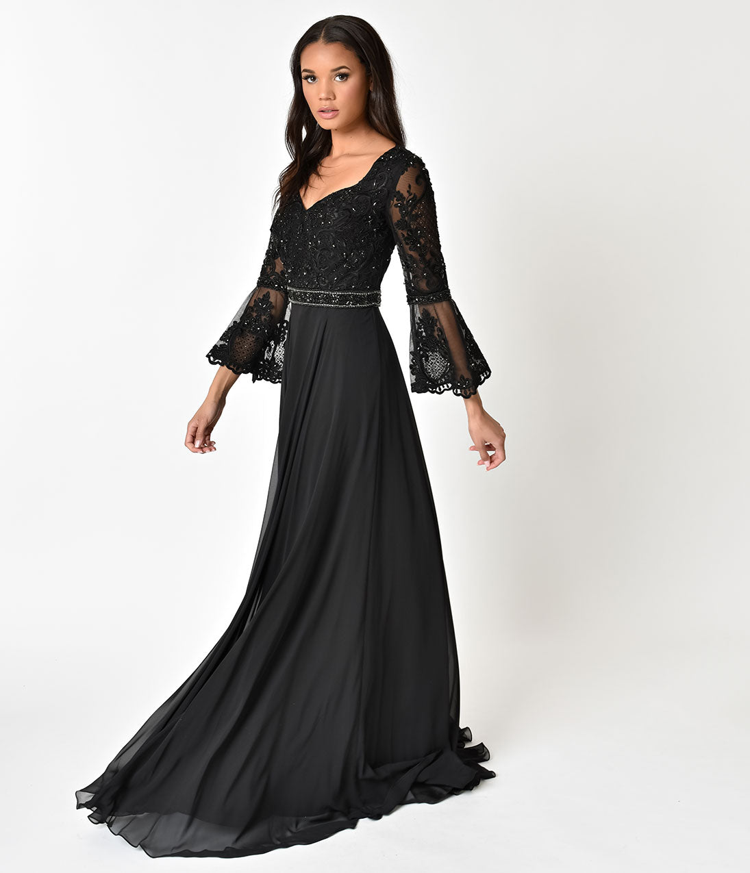 70s Prom, Formal, Evening, Party Dresses Black Beaded Bell Long Sleeve Gown $168.00 AT vintagedancer.com