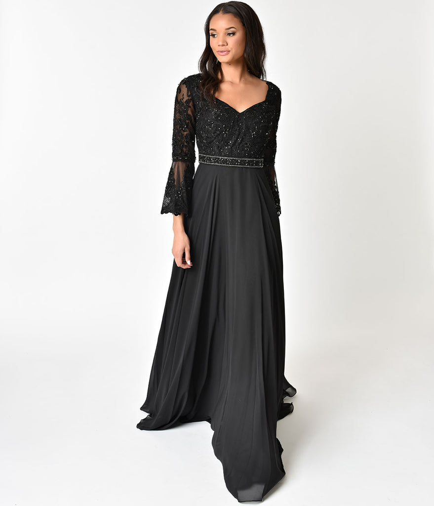 Black Beaded Bell Long Sleeve Gown – Unique Vintage