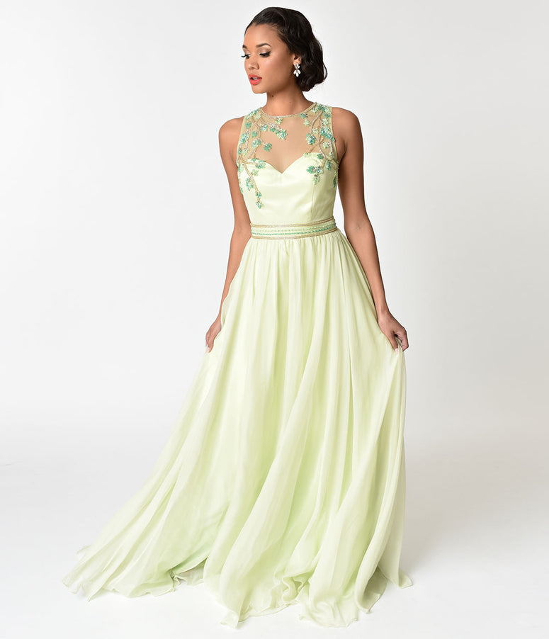 Lime Green Embellished Mesh Illusion Prom Gown