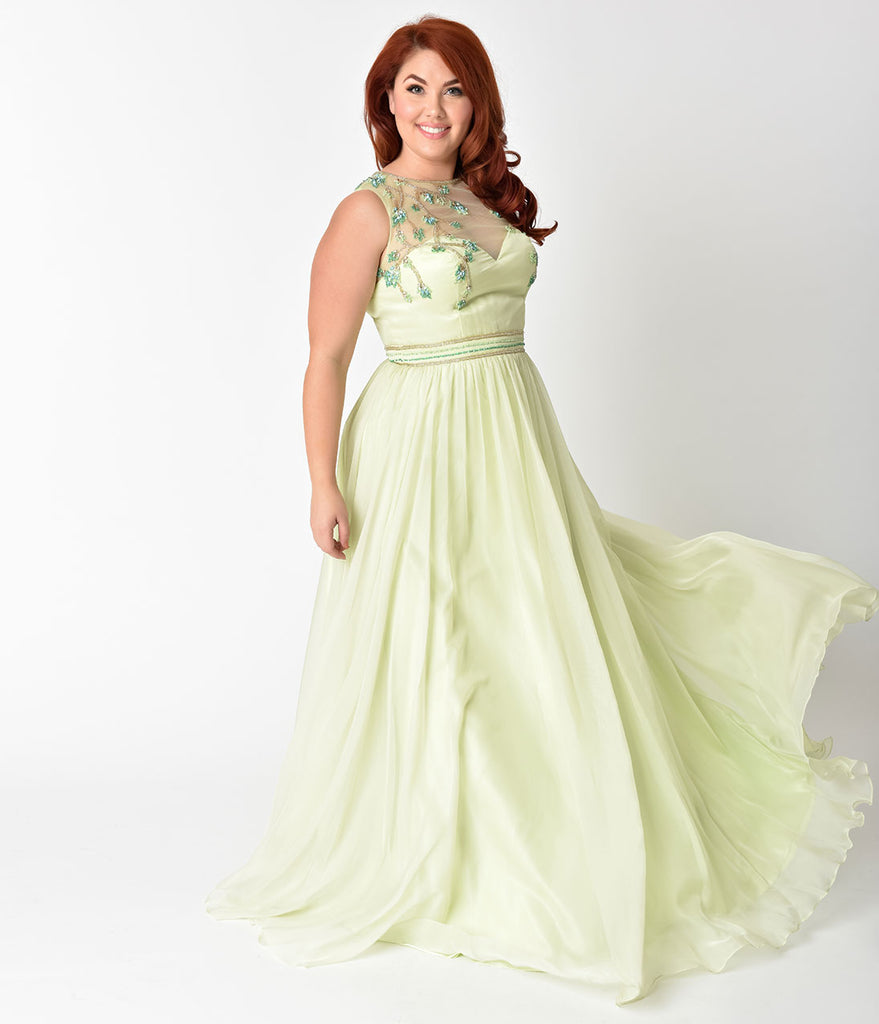 Plus Size Lime Green Embellished Mesh Illusion Prom Gown