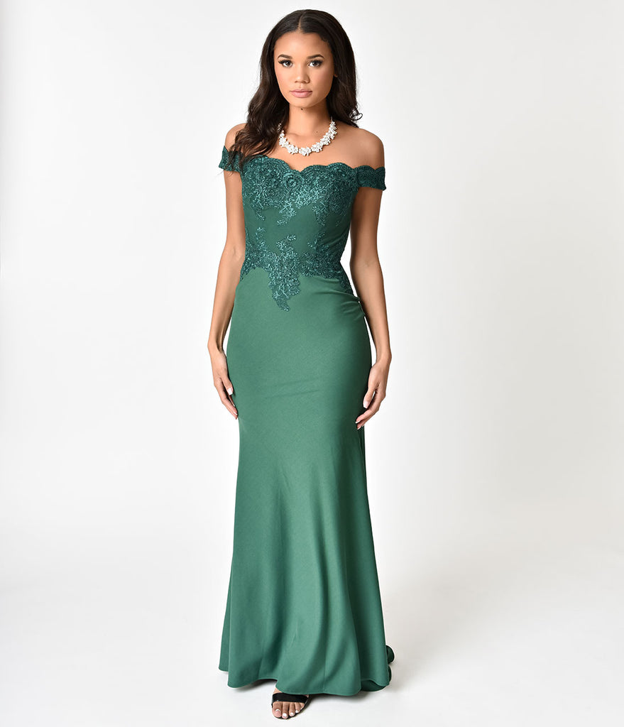 a269cd36cb01 Emerald Green Beaded Off Shoulder Long Gown – Unique Vintage