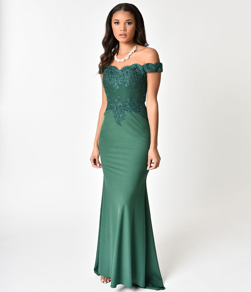 Emerald Green Beaded Off Shoulder Long Gown – Unique Vintage