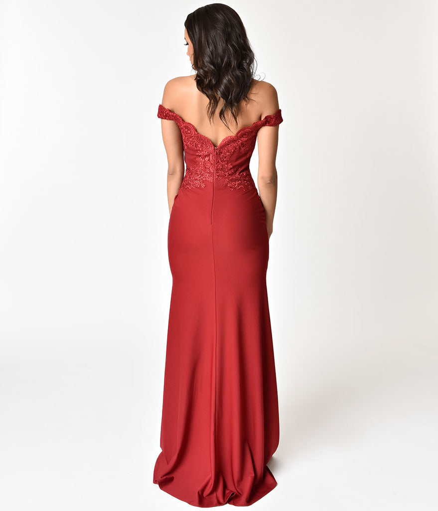 Burgundy Red Beaded Off Shoulder Long Gown